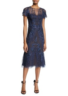 David Meister Short-Sleeve Mesh & Embroidered Dress