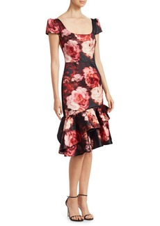 David Meister Short-Sleeve Ruffle Midi Dress