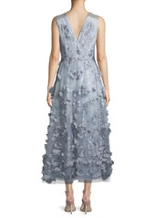 David Meister Sleeveless Cocktail Midi Dress w/ 3D Floral Embroidery