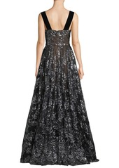 David Meister Sleeveless Embroidered Sequin Gown