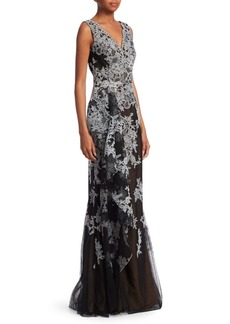 David Meister Sleeveless Floral Gown