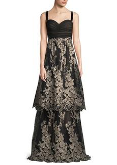 David Meister Sleeveless Tulle Gown w/ Metallic Embroidered Skirt