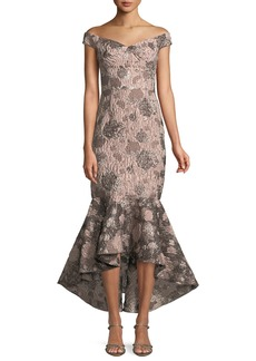 David Meister Soft Metallic Jacquard Mermaid Gown