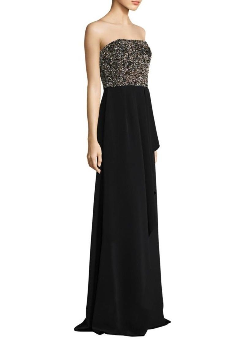 David Meister Strapless Beaded Floor-Length Gown