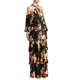 David Meister Tiered Plissé Cold-Shoulder Gown