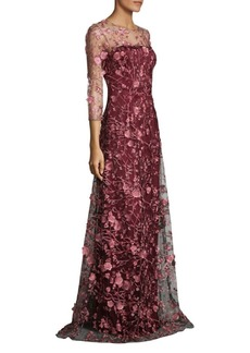 David Meister Two-Tone Floral Floor-Length Gown