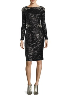 David Meister Two-Tone Sequin Sheath Cocktail Dress