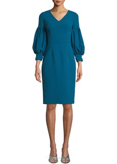 David Meister V-Neck Dress w/ Bubble Sleeves