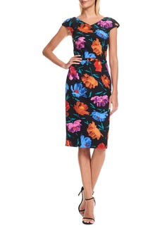 David Meister V-Neck Floral Crepe Midi Dress