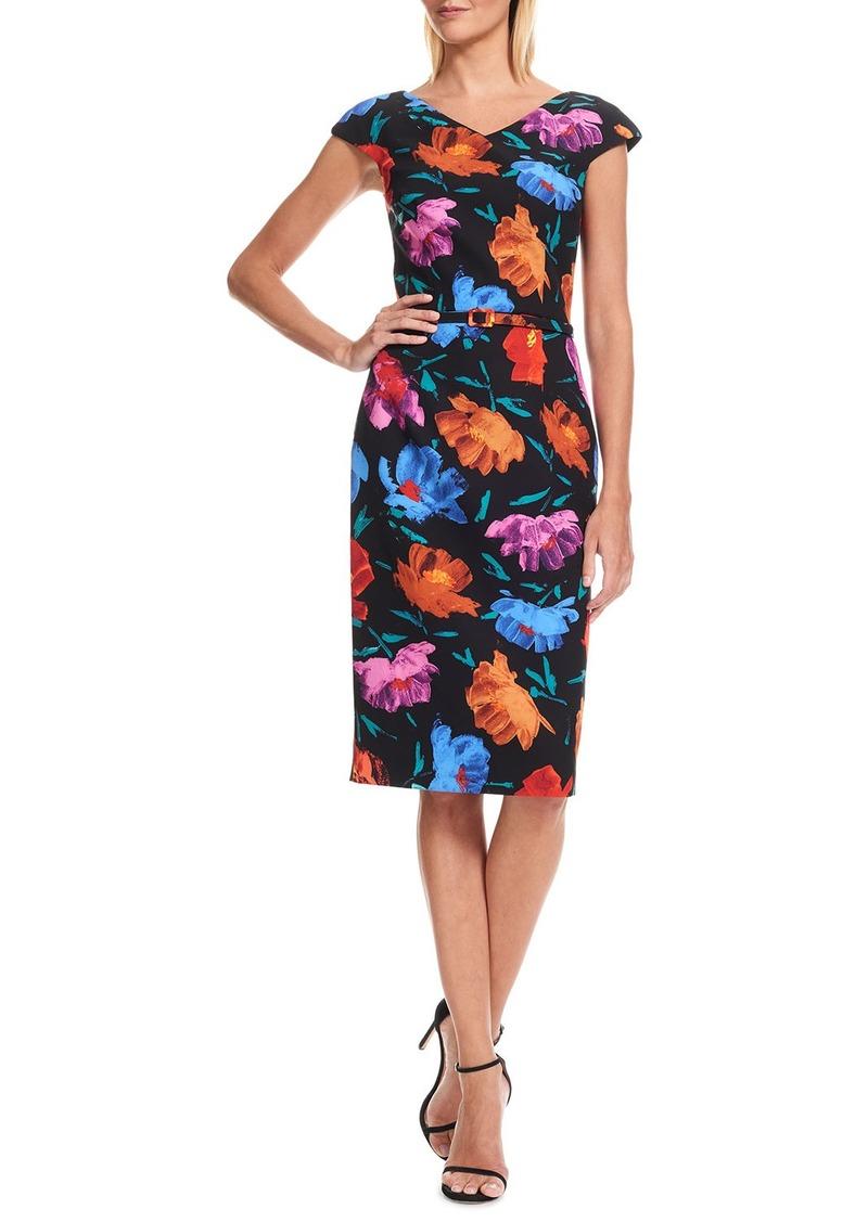 David Meister V-Neck Floral Crepe Midi Dress