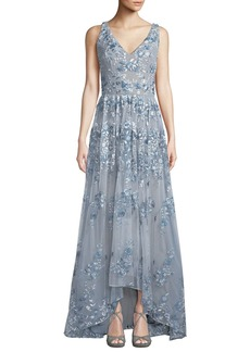 David Meister V-Neck Gown w/ Floral Embroidery