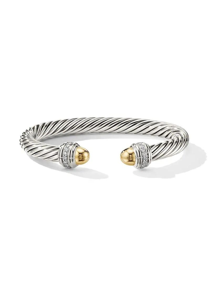 David Yurman sterling silver and 14kt yellow gold Cable diamond cuff