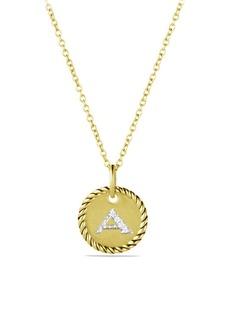 David Yurman 18K Yellow Gold Initial Pendant Necklace