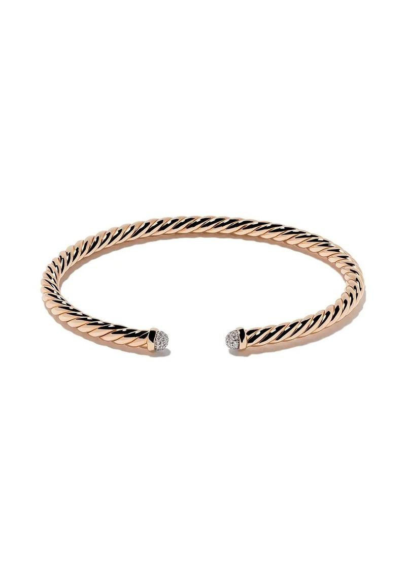 David Yurman 18kt rose gold Cable Spira diamond cuff bracelet