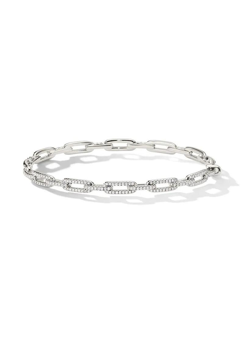 David Yurman 18kt white gold Stax diamond chain link bracelet