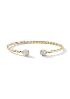 David Yurman 18kt yellow gold 7mm Solari diamond cuff