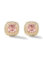 David Yurman 18kt yellow gold and white Albion morganite and diamond stud earrings