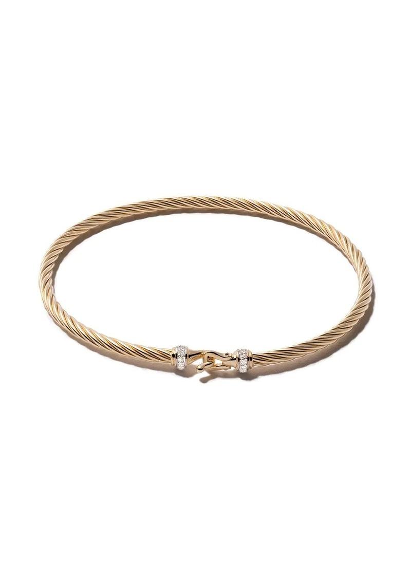 David Yurman 18kt yellow gold Cable Buckle pavé diamond bracelet