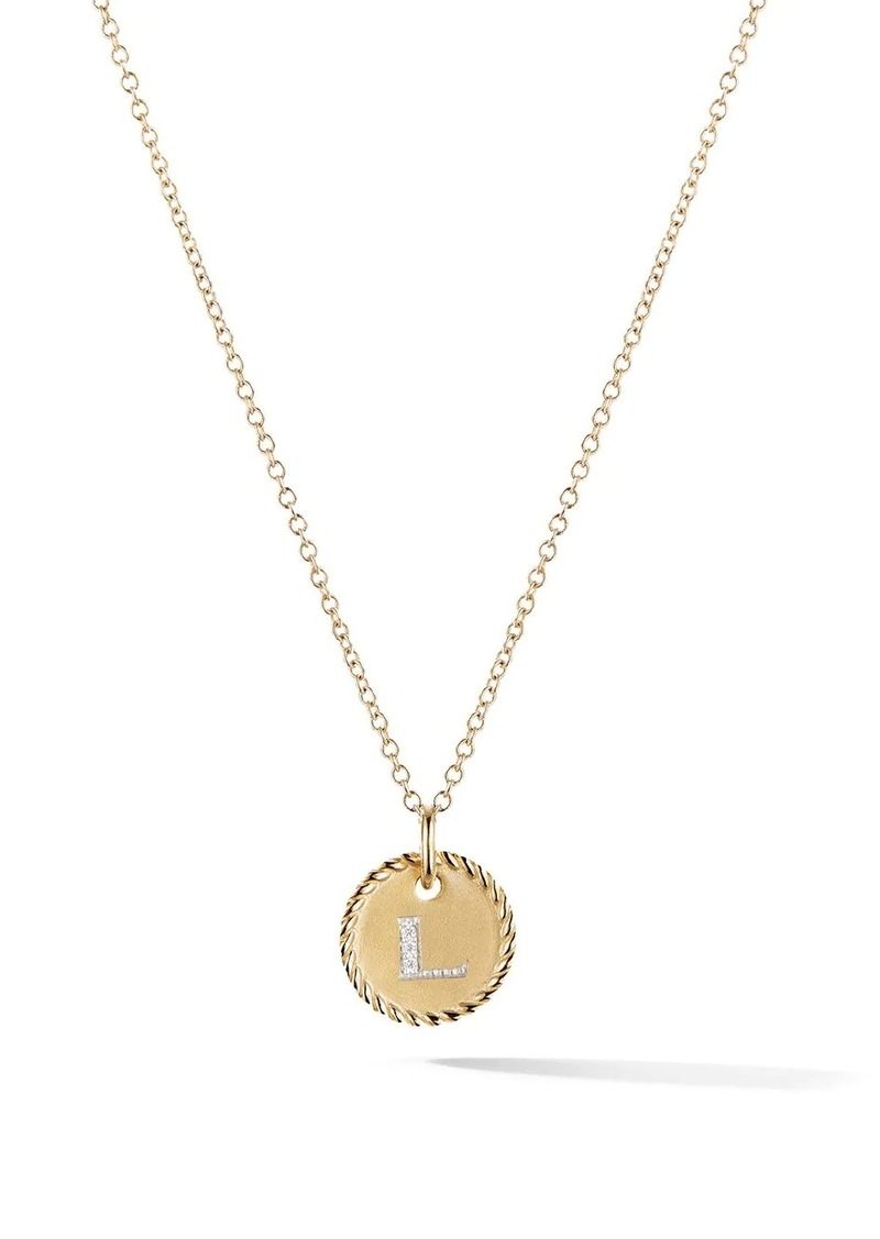 David Yurman 18kt yellow gold Cable Collectibles diamond L initial pendant necklace in 18k Yellow Gold and Diamonds