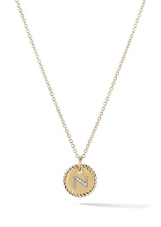 David Yurman 18kt yellow gold Cable Collectibles diamond N initial pendant necklace