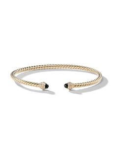 David Yurman 18kt yellow gold Cable Spira onyx and diamond cuf
