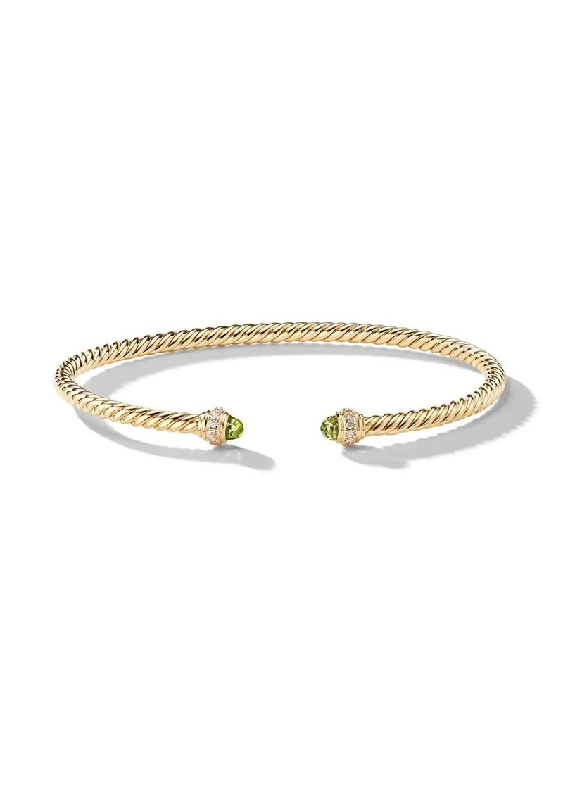 David Yurman 18kt yellow gold Cable Spira peridot and diamond 3mm cuff