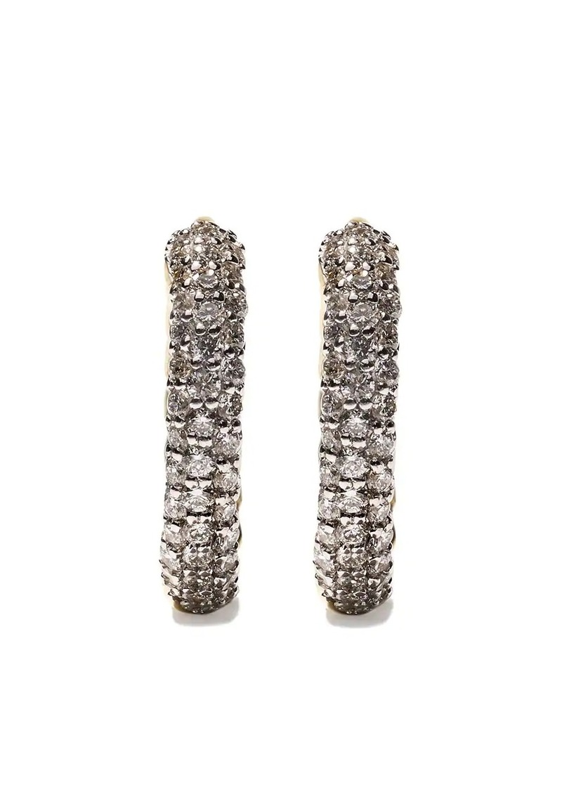 David Yurman 18kt yellow gold Petite Pavé diamond huggie hoop earrings
