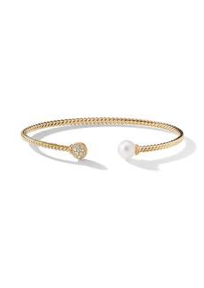 David Yurman 18kt yellow gold Petite Solari Bead diamond and pearl cuff