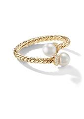 David Yurman 18kt yellow gold Petite Solari Bypass pearl and diamond ring