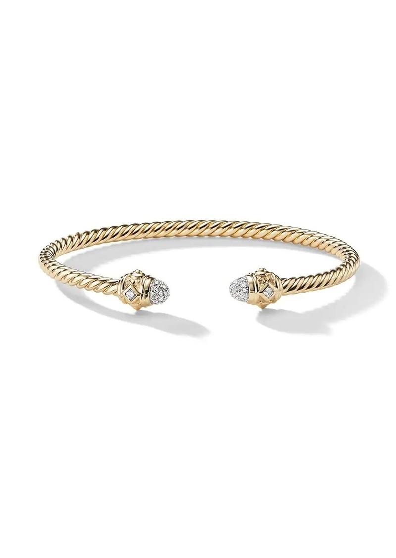 David Yurman 18kt yellow gold Renaissance diamond 3mm cuff