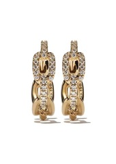 David Yurman 18kt yellow gold Stax diamond chain link huggie hoop earrings