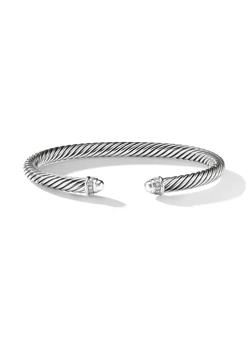 David Yurman sterling silver Cable Classics diamond 5mm cuff