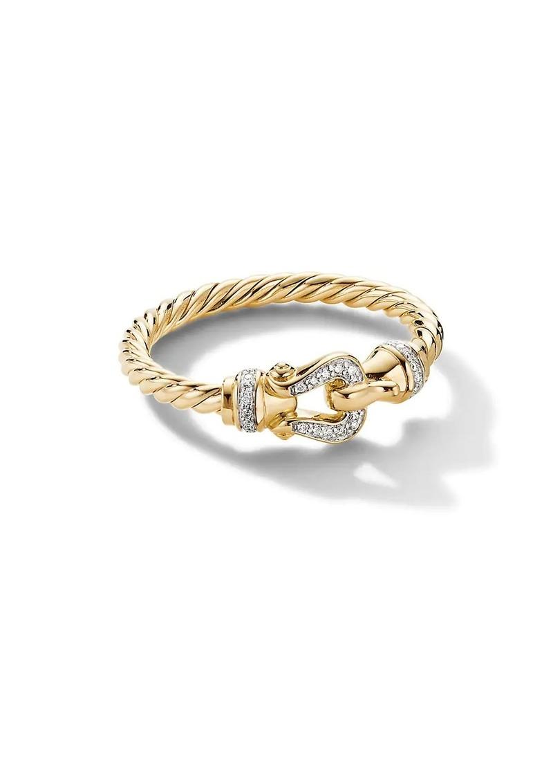 David Yurman Cable Collectibles 18K Yellow Gold & Diamond Ring