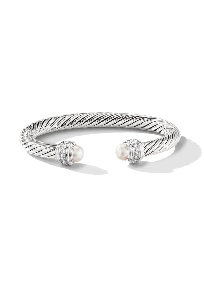 David Yurman sterling silver Cable pearls and diamond 7mm cuff