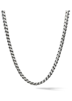 David Yurman Chain Sterling Silver Micro Curb Link Necklace