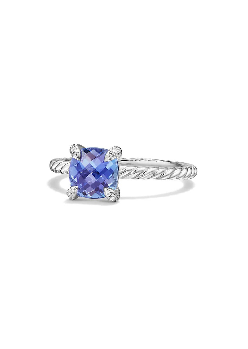 David Yurman Châtelaine Ring With Tanzanite & Diamonds In 18K White Gold, 7MM