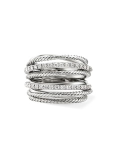 David Yurman Crossover Diamond & Sterling Silver Wide Ring