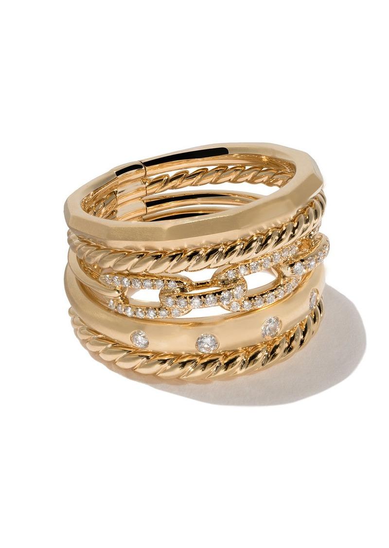 David Yurman 18kt yellow gold Stax diamond wide ring