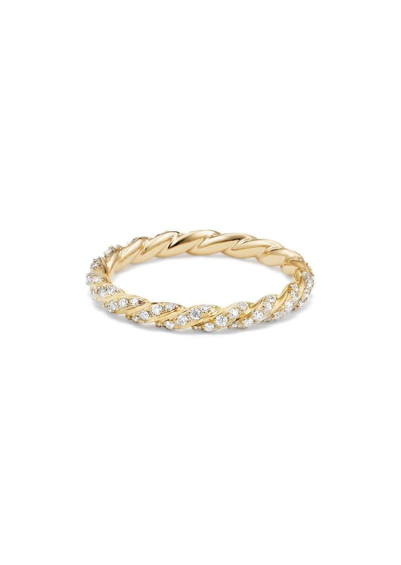 David Yurman 2.7mm Paveflex Ring with Diamonds in 18K Gold