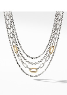 David Yurman 4-Row Mixed Chain Bib Necklace with 18K Yellow Gold