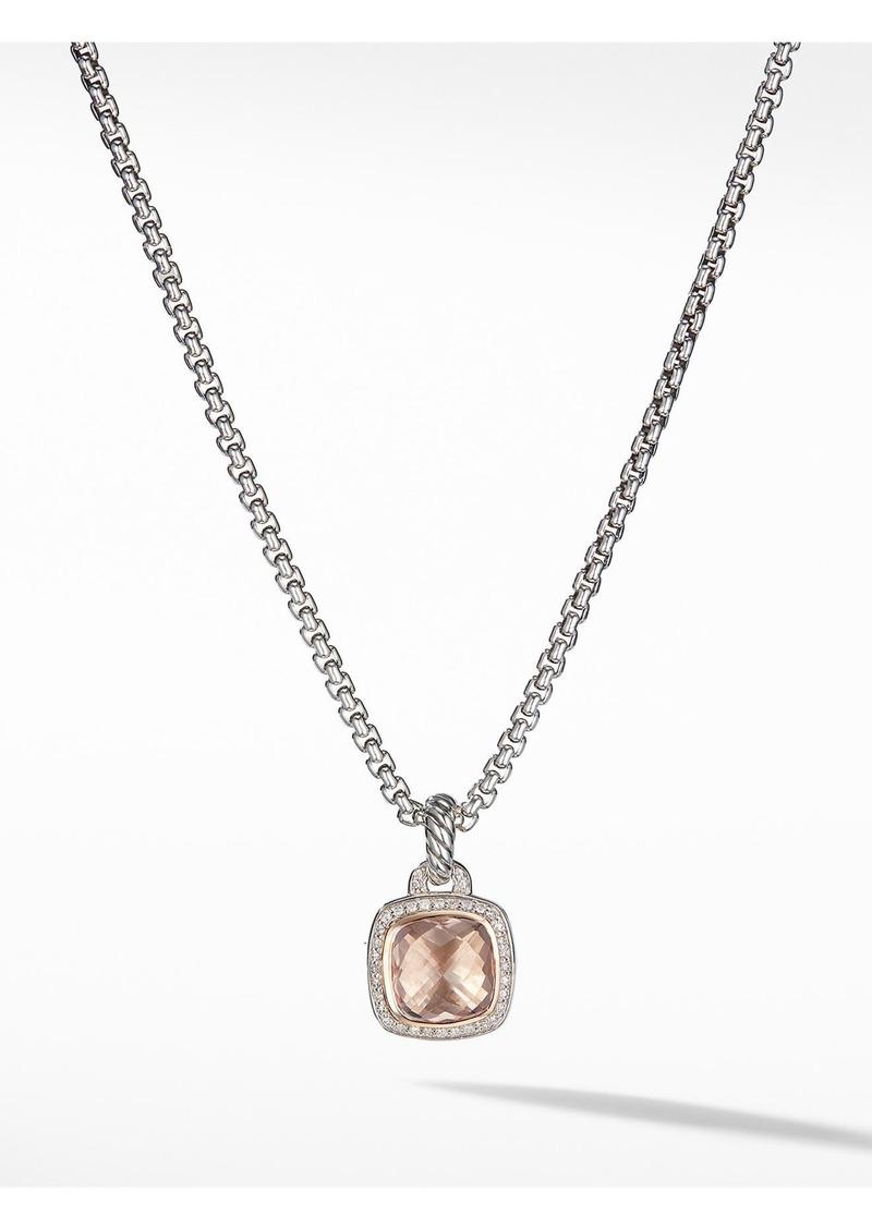 David Yurman Albion Morganite, Diamond & 18K Gold Pendant