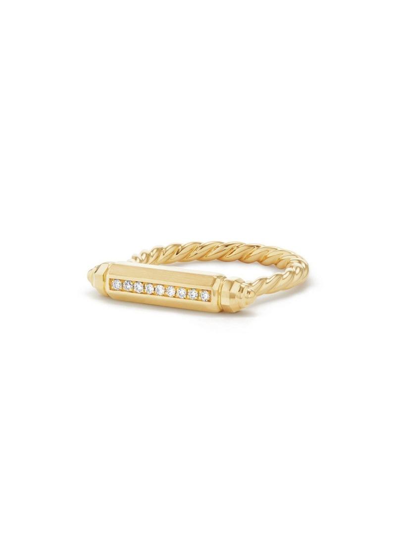 David Yurman Barrels Ring with Diamonds in 18K Gold