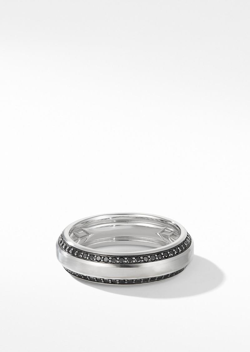 David Yurman Beveled Band Ring in 18K White Gold with Black Diamonds