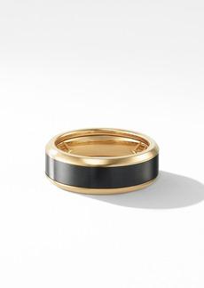 David Yurman Beveled Band Ring in 18K Yellow Gold with Black Titanium