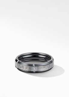 David Yurman Beveled Band Ring in Black Titanium with Meteorite