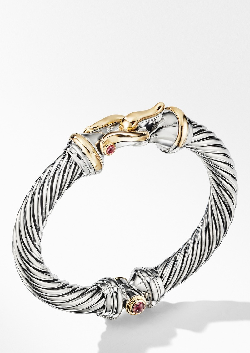 David Yurman Cable Buckle Bracelet with 18K Yellow Gold and Rhodalite Garnet