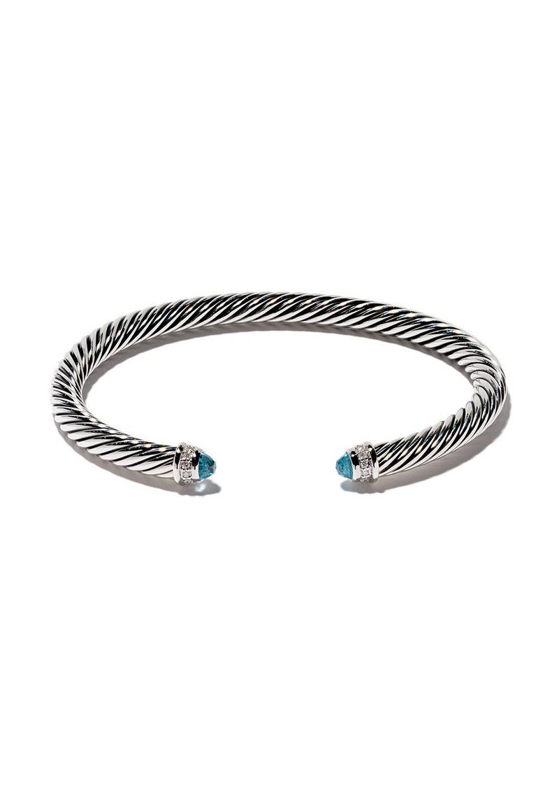 David Yurman sterling silver Cable Classic blue topaz and diamond cuff bracelet