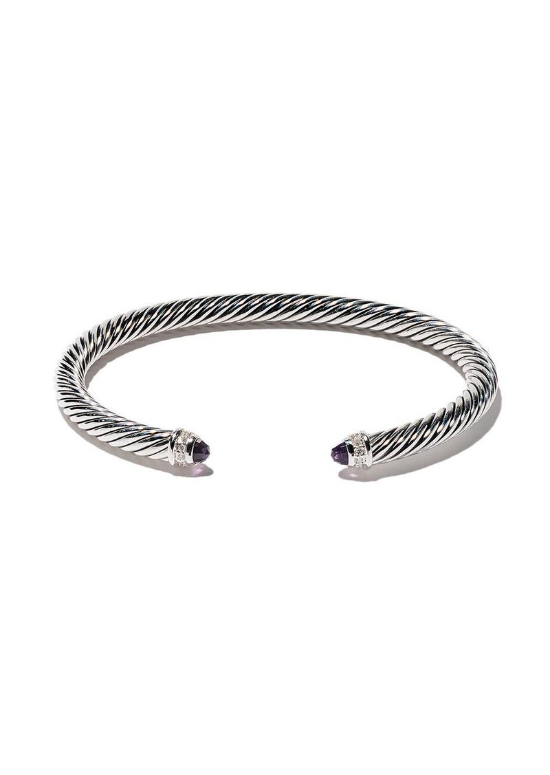 David Yurman sterling silver Cable Classics amethyst and diamond cuff bracelet