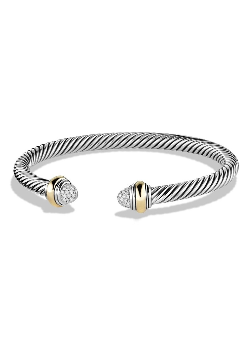 David Yurman Cable Classics Bracelet with Diamonds & 14K Gold, 5mm
