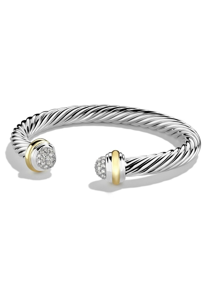 David Yurman Cable Classics Bracelet with Diamonds and 18K Gold, 7mm